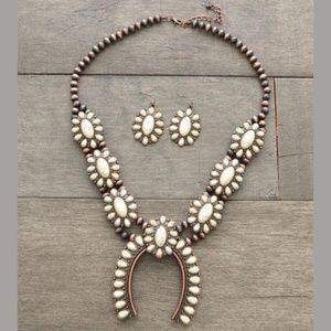 Ivory Squash Blossom Navajo Necklace Set